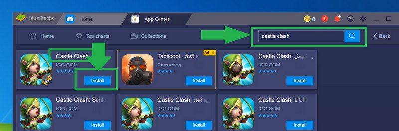 Search and install Castle Clash for PC & Mac with Bluestacks